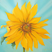 Sun Rays Painting Posters - Sunflower with Bee Poster by Bettina Star-Rose