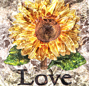 Fauna Mixed Media Metal Prints - Sunflower with hope and Love Metal Print by Art World