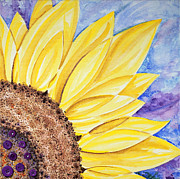 Sunflower Paintings - Sunflower With Purple Buttons - Right by Annie Troe