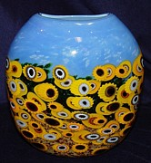 Featured Glass Art - Sunflowers - Glass Vase by Rina Fehrensen - Mad Art Studio