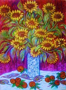 Impressionism Sculpture Prints - Sunflowers  1  with Red Apples  Art Deco Print by Gunter  Hortz