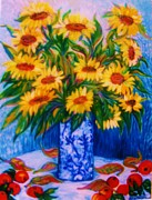 Impressionism Sculpture Framed Prints - SUNFLOWERS  2   Art Deco Framed Print by Gunter  Hortz