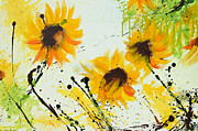 Salzburg Mixed Media Framed Prints - Sunflowers - Abstract painting Framed Print by Ismeta Gruenwald