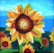Plant Greeting Cards Painting Framed Prints - Sunflowers and Blue Sky Framed Print by Genevieve Esson