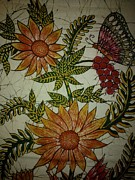Butterflies Tapestries - Textiles - Sunflowers and butterfly by Community in Sri Lanka