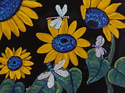 Dragonflys Paintings - Sunflowers And Dragonflys-painting by Beverly Livingstone