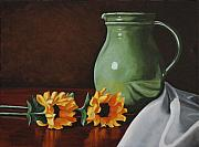 Sunflowers And Green Water Jug Print by Daniel Kansky