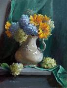 Sunflowers And Hydrangeas Print by Viktoria K Majestic