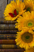 Leather Books Posters - Sunflowers and old books Poster by Garry Gay