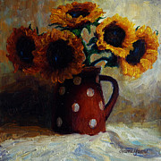 Pitcher Painting Framed Prints - Sunflowers and Polka Dots Framed Print by Jeanne Young