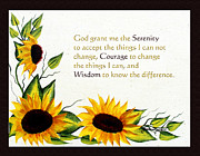 Prayer Room Posters - Sunflowers and Serenity Prayer Poster by Barbara Griffin