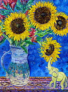 Stoneware Paintings - Sunflowers and White Elephant by Linda J Bean