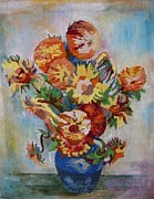 Interior Still Life Tapestries - Textiles Metal Prints - Sunflowers Metal Print by Armen Abel Babayan