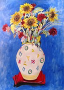 Life Framed Prints Painting Originals - Sunflowers at Home by Esther Newman-Cohen