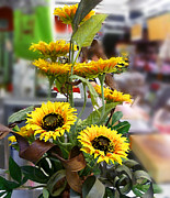 Harvest Art Prints - Sunflowers At The Market Florence Italy Print by Irina Sztukowski