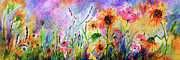 Ginette Fine Art LLC Ginette Callaway - Sunflowers Bees Pink Poppies Wildflowers