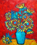 Palette Knife Art Posters - Sunflowers Bouquet Poster by Ana Maria Edulescu