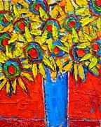Sunflowers Bouquet In Blue Vase Print by Ana Maria Edulescu