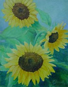 Sunflower Studio Art Framed Prints - Sunflowers Bouquet Original Oil Painting Framed Print by K Joann Russell