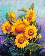 Flowers Pastels Posters - Sunflowers Poster by Candy Mayer