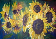 Maine Artist Paintings - Sunflowers by Chris Wing