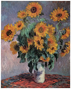 Impressionism Glass Framed Prints - Sunflowers Framed Print by Claude Monet