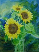Sunflower Studio Art Framed Prints - Sunflowers Colorful Sunflower Art of Original Watercolor Framed Print by K Joann Russell