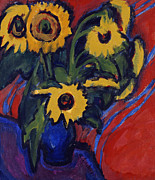 Vase Of Flowers Painting Prints - Sunflowers Print by Ernst Ludwig Kirchner
