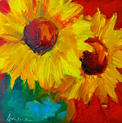 Baby Blue Colors Prints - Sunflowers Girasoles Still Life Print by Patricia Awapara