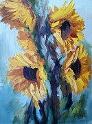 Impasto Oil Paintings - Sunflowers II by Donna Tuten