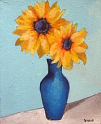 Nature Study Painting Posters - Sunflowers In A Blue Vase Poster by Venus