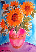 Flora Drawings Prints - Sunflowers in a pink vase Print by Roberto Gagliardi