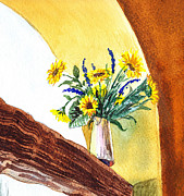 Sunflowers Paintings - Sunflowers In A Pitcher by Irina Sztukowski