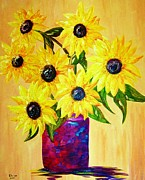 Teal Prints - Sunflowers in a Red Pot Print by Eloise Schneider