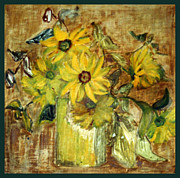 Pissaro Prints - Sunflowers in a Vase Print by Zoe Schminke