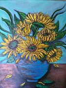 Featured Mixed Media - Sunflowers in Blue Pot by Marilyn  Sahs