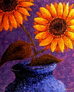 Colorful Floral Gardens Paintings - Sunflowers in Ceramic Pot II by Annie Zeno