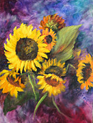 Elaine Bailey - Sunflowers in purple