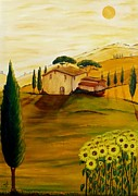 Tuscan Dusk Paintings - Sunflowers in Tuscany by Christine Huwer