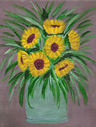 Vase Of Flowers Prints - Sunflowers in Vase Print by Faye Giblin