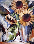 Vase Of Flowers Posters - Sunflowers in Vase Poster by Jenny King