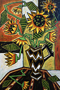 Sunflowers Drawings - Sunflowers in Zigzag Vase by Donald Bruce Wright