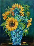 Sunflowers Paintings - Sunflowers by Janet Silkoff