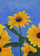 Field Of Sunflowers Paintings - Sunflowers by Jessica Hallberg