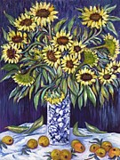 Gay Art Framed Giclee On Canvas Framed Prints - SUNFLOWERS  MASTERPEASE    Art Deco Framed Print by Gunter  Hortz