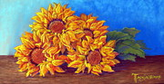 Horizontal Pastels Prints - Sunflowers of Fall Print by Tanja Ware