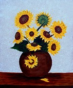 Vase Of Flowers Prints - Sunflowers on Blue Print by Barbara Griffin