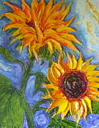Sunflowers On Blue Print by Paris Wyatt Llanso