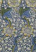 Blue Art Tapestries - Textiles Prints - Sunflowers on Blue Pattern Print by William Morris