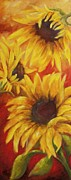 Chris Brandley Paintings - Sunflowers on Red by Chris Brandley